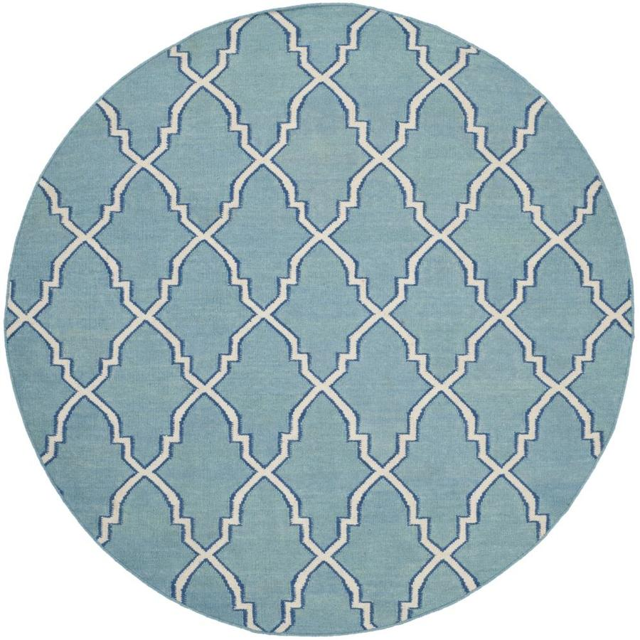 Safavieh Dhurries Light Blue and Ivory Round Indoor Woven Area Rug (Common: 6 x 6; Actual: 72-in W x 72-in L x 0.42-ft Dia)