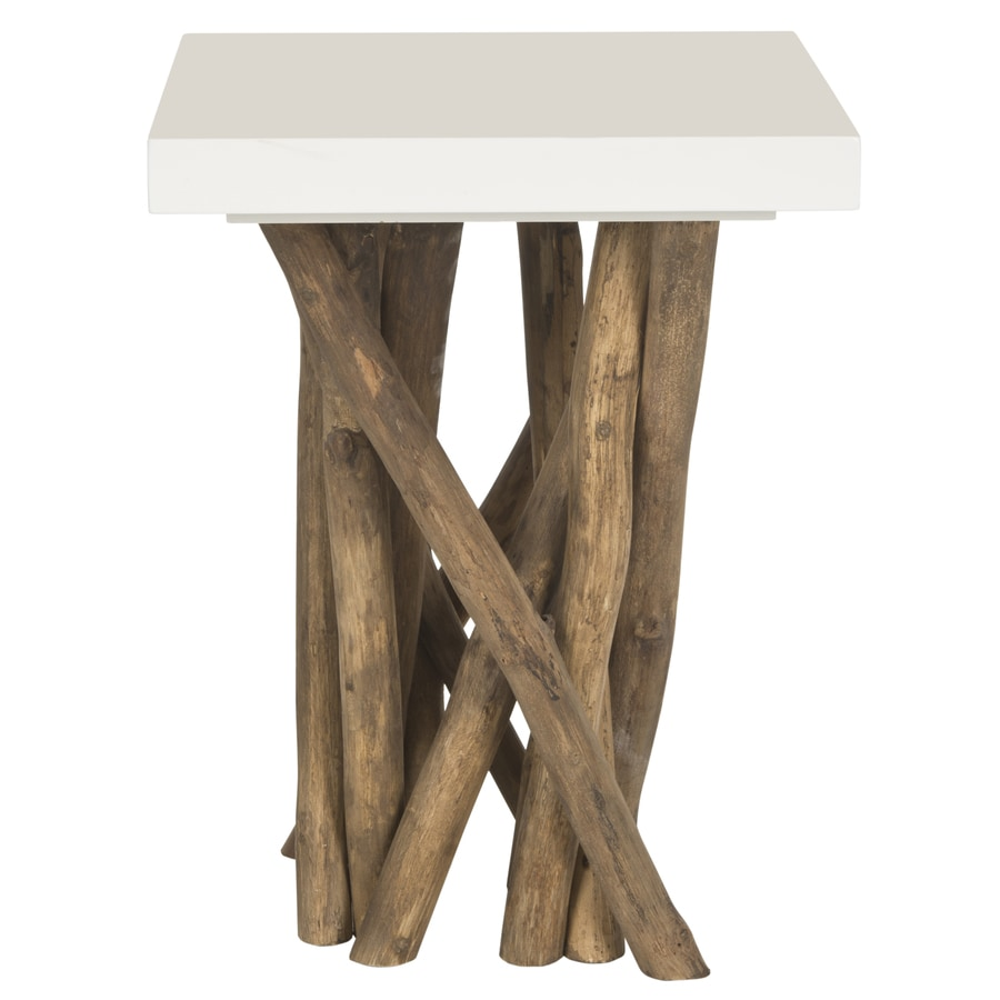 Safavieh Hartwick White/Natural Teak End Table