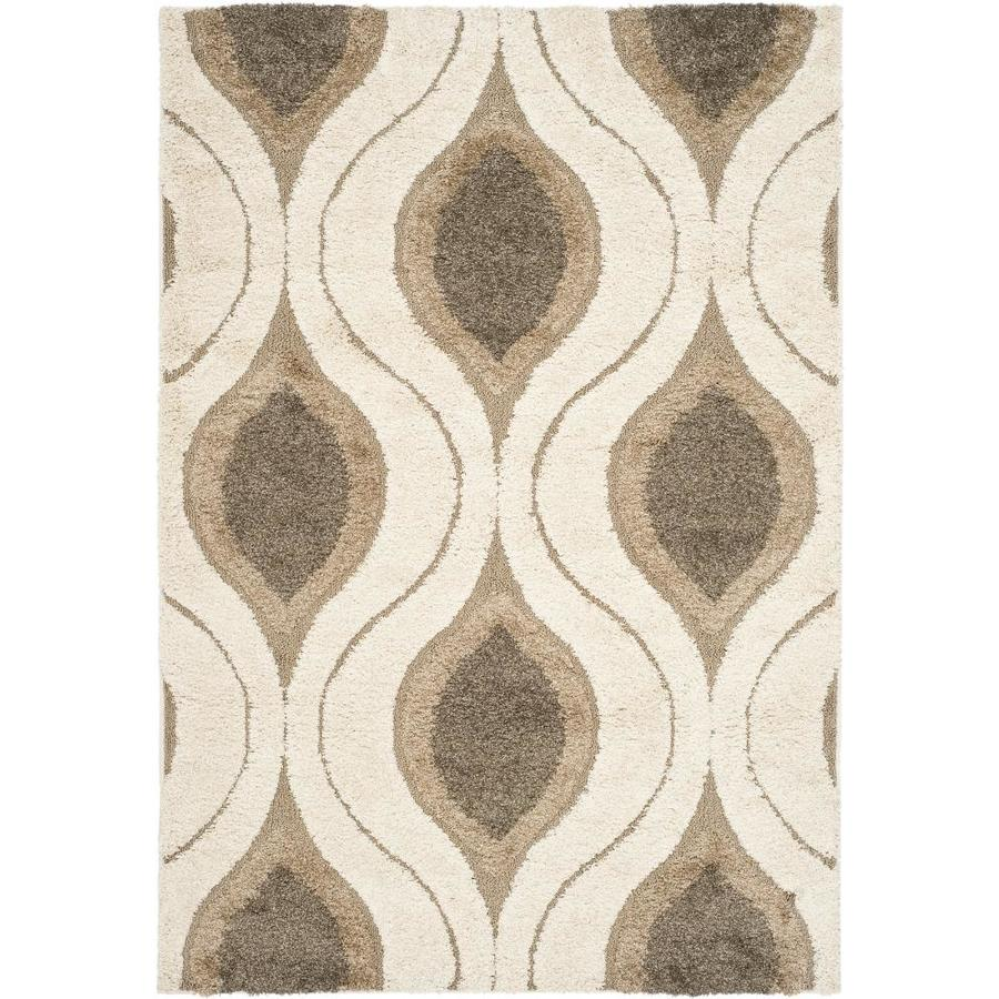 Safavieh Florida Shag Cream/Smoke Rectangular Indoor Machine-Made Area Rug