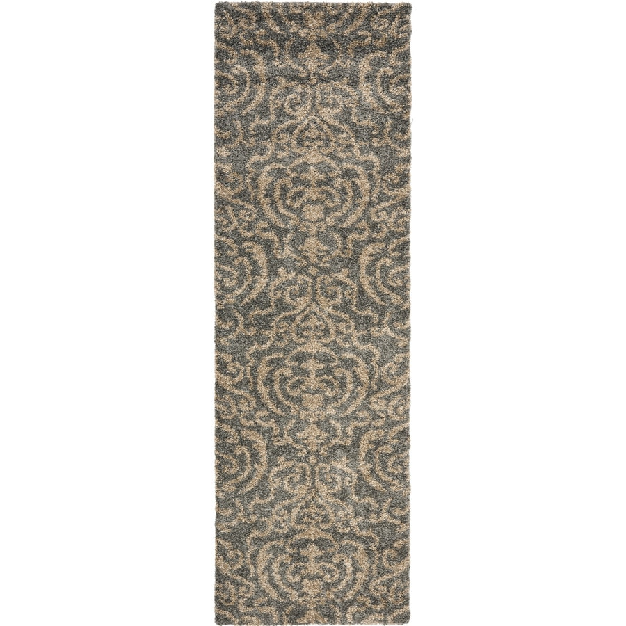 Safavieh Florida Shag Gray/Beige Rectangular Indoor Machine-Made Tropical Runner (Common: 2.3 x 11; Actual: 2.25-ft W x 11-ft L)