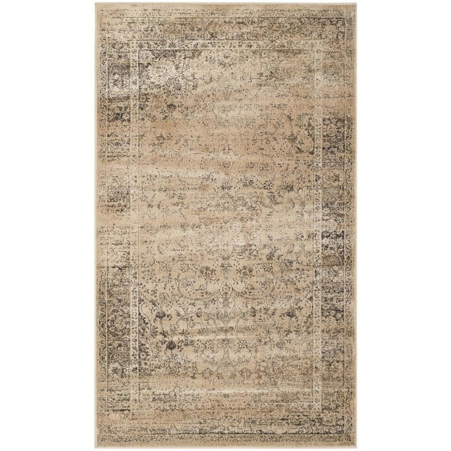 Safavieh Vintage Warm Beige Rectangular Indoor Machine-Made Distressed Throw Rug (Common: 3 x 5; Actual: 3.25-ft W x 5.583-ft L)