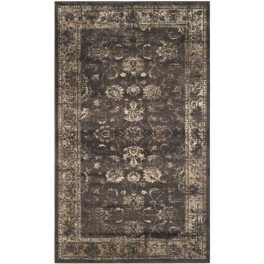 Safavieh Vintage Mosed Soft Anthracite Indoor Distressed Throw Rug (Common: 2 x 4; Actual: 2.6-ft W x 4-ft L)