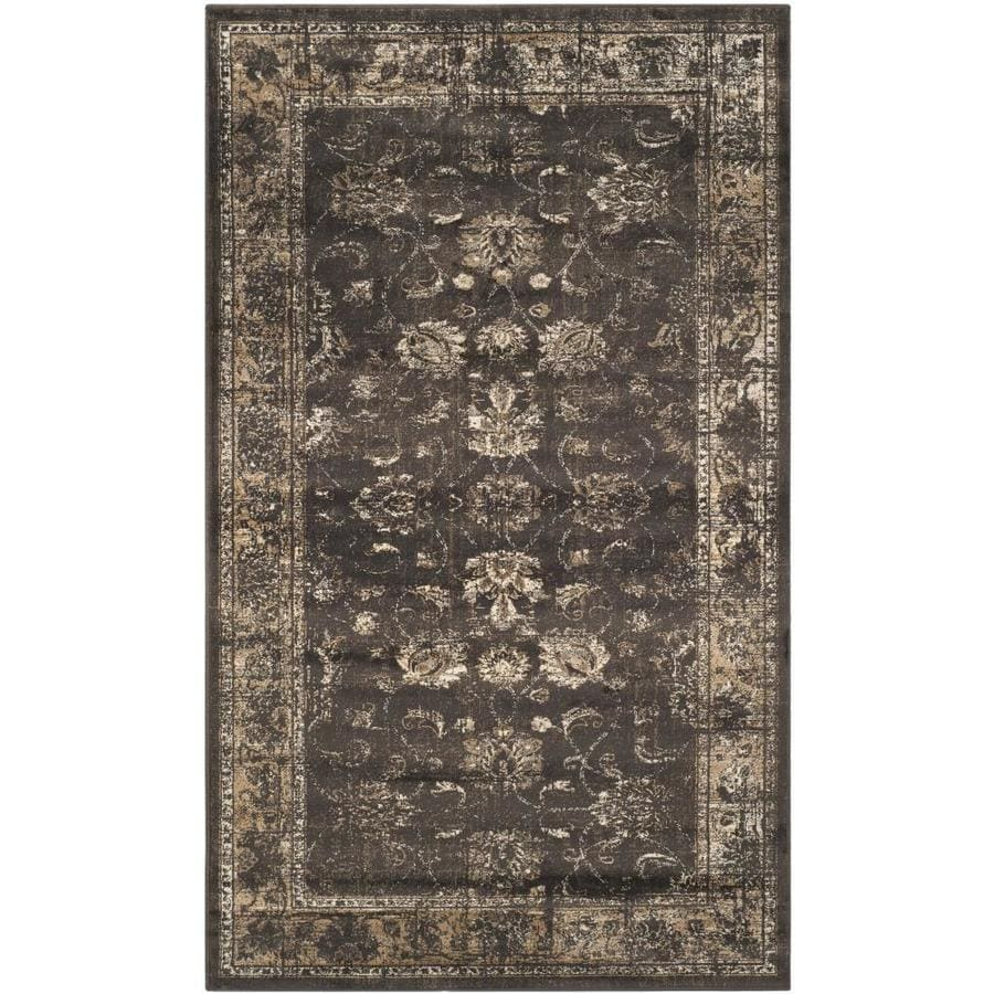 Safavieh Vintage Soft Anthracite Rectangular Indoor Machine-Made Distressed Throw Rug (Common: 3 x 5; Actual: 3.25-ft W x 5.583-ft L)