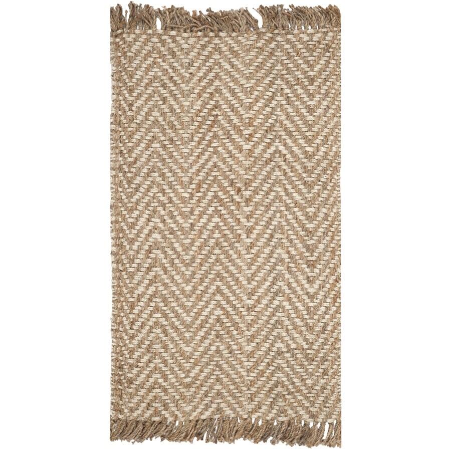 Safavieh Natural Fiber Bridgehampton Bleach/Natural Rectangular Indoor Handcrafted Coastal Throw Rug (Common: 2 x 4; Actual: 2.5-ft W x 4-ft L)