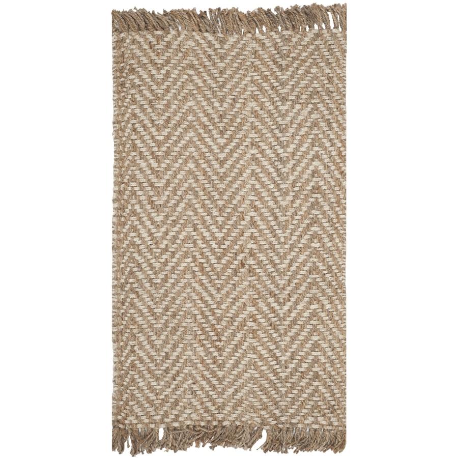Safavieh Natural Fiber Bridgehampton Bleach/Natural Rectangular Indoor Handcrafted Coastal Throw Rug (Common: 3 x 5; Actual: 3-ft W x 5-ft L)