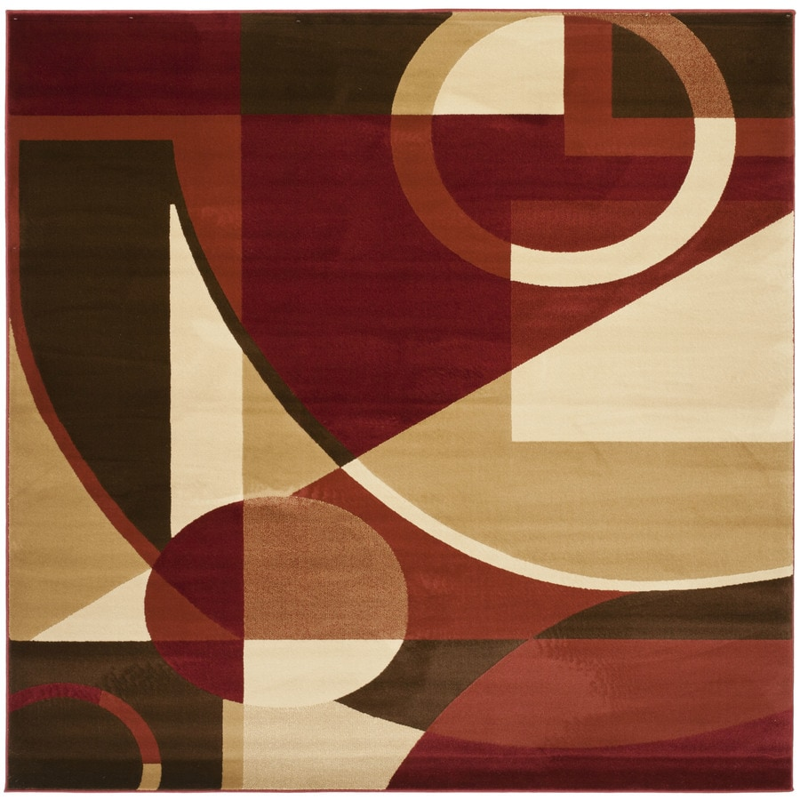 Safavieh Porcello Red/Multi Square Indoor Machine-Made Novelty Area Rug (Common: 5 x 5; Actual: 5-ft W x 5-ft L)