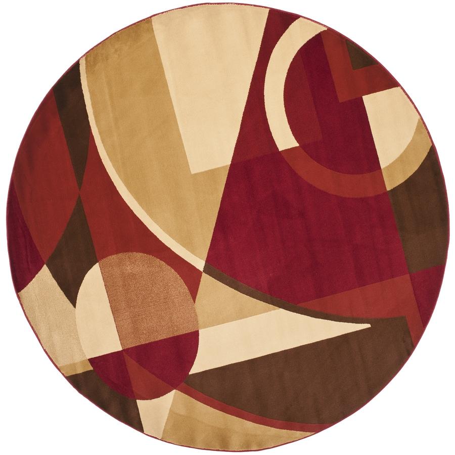 Safavieh Porcello Red/Multi Round Indoor Machine-Made Area Rug (Common: 5 x 5; Actual: W x L x 5-ft Dia)