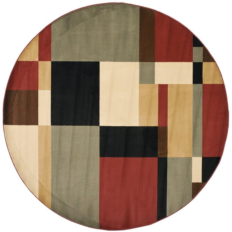 Safavieh Porcello Black/Multi Round Indoor Machine-Made Novelty Area Rug (Common: 5 x 5; Actual: 5-ft W x 5-ft L x 5-ft Dia)