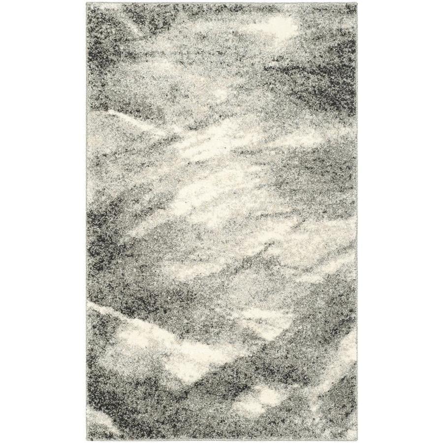 Safavieh Retro Azusa Gray/Ivory Rectangular Indoor Machine-made Distressed Throw Rug (Common: 3 x 5; Actual: 3-ft W x 5-ft L)