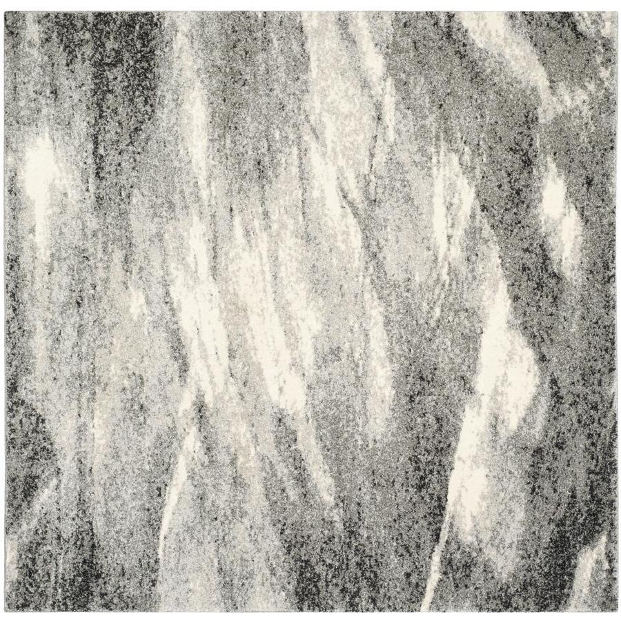 Safavieh Retro Azusa Gray/Ivory Square Indoor Distressed Area Rug (Common: 8 x 8; Actual: 8-ft W x 8-ft L)