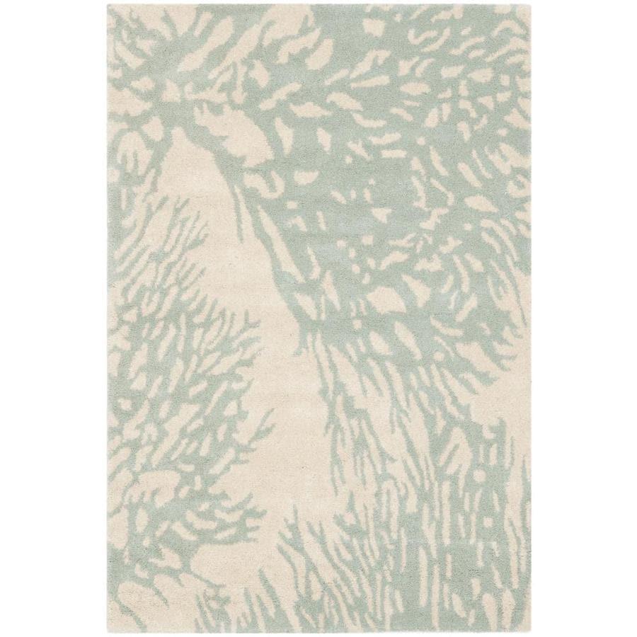 Safavieh Bella Sprigs Beige/Blue Indoor Handcrafted Nature Throw Rug (Common: 3 x 5; Actual: 3-ft W x 5-ft L)