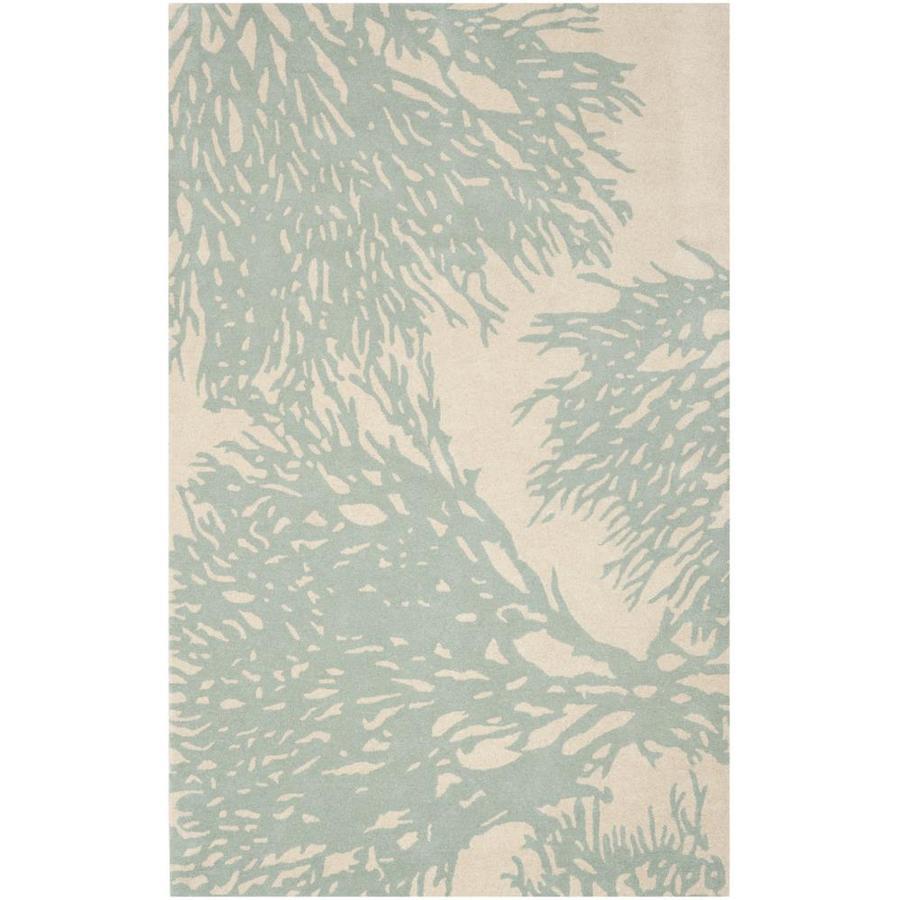 Safavieh Bella Sprigs Beige/Blue Indoor Handcrafted Nature Area Rug (Common: 5 x 8; Actual: 5-ft W x 8-ft L)