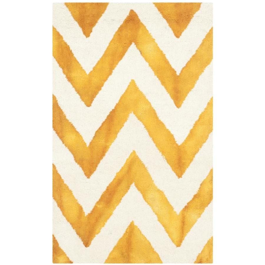 Safavieh Dip Dye Vertica Ivory/Gold Indoor Handcrafted Distressed Throw Rug (Common: 2 x 3; Actual: 2-ft W x 3-ft L)