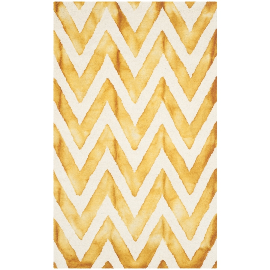 Safavieh Dip Dye Ivory and Gold Rectangular Indoor Tufted Throw Rug (Common: 3 x 5; Actual: 36-in W x 60-in L x 0.5-ft Dia)