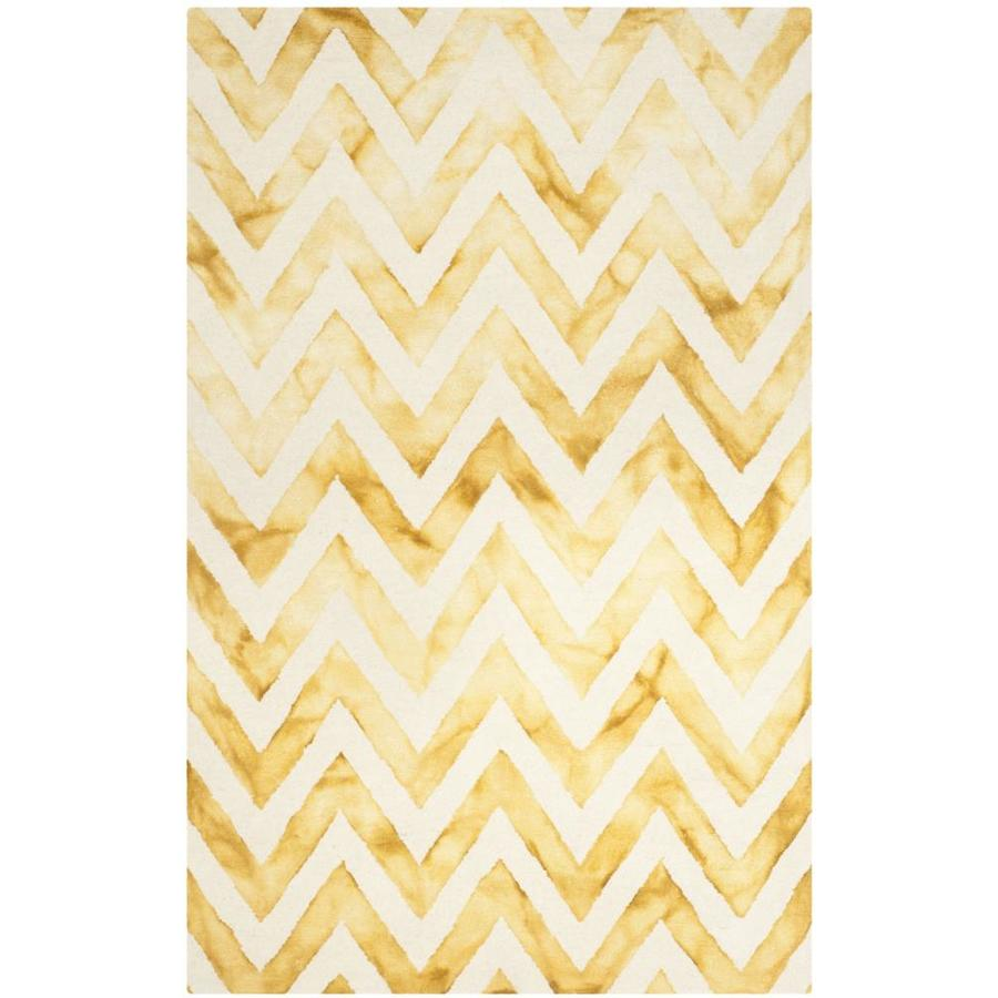 Safavieh Dip Dye Ivory/Gold Rectangular Indoor Tufted Distressed Area Rug (Common: 4 x 6; Actual: 4-ft W x 6-ft L)