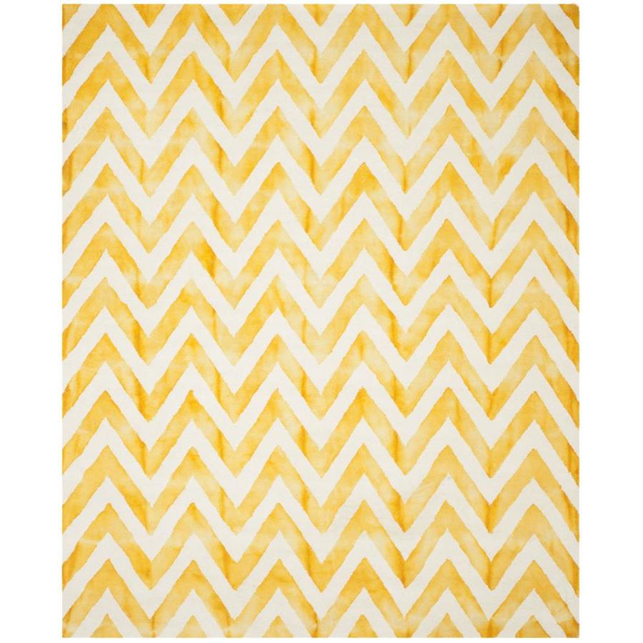 Safavieh Dip Dye Ivory and Gold Rectangular Indoor Tufted Area Rug (Common: 8 x 10; Actual: 96-in W x 120-in L x 0.67-ft Dia)