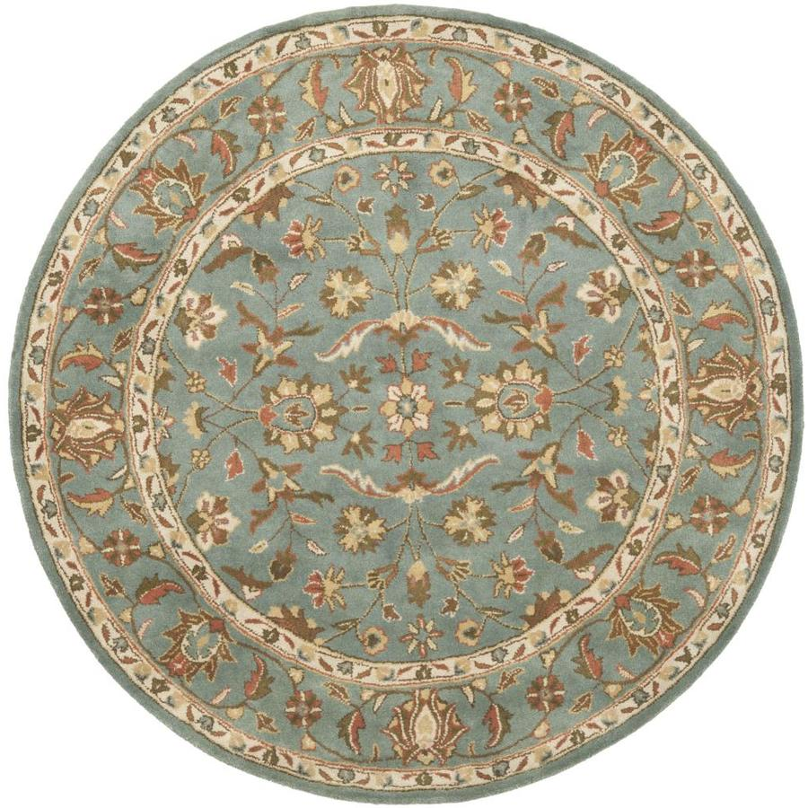 Safavieh Heritage Salor Blue/Blue Round Indoor Handcrafted Oriental Area Rug (Common: 8 x 8; Actual: 8-ft W x 8-ft L x 8-ft dia)