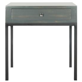 safavieh siobhan steel teal pine end table