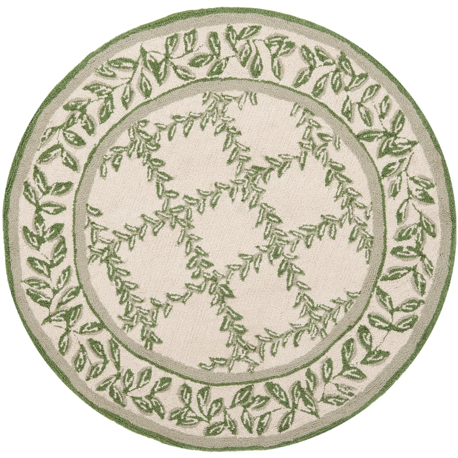 Safavieh Chelsea Lattice Ivory And Light Green Round Indoor Handcrafted Lodge Area Rug (Common: 4 x 4; Actual: 4-ft W x 4-ft L x 4-ft dia)