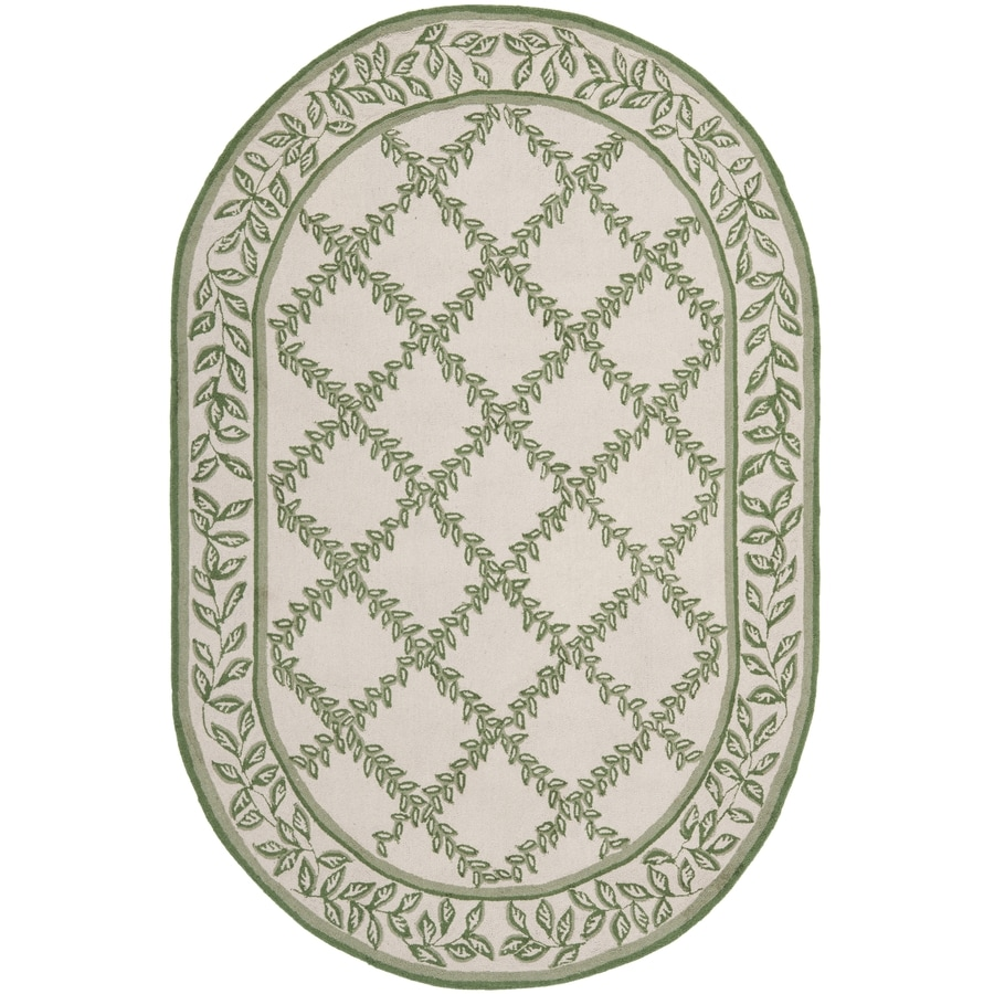 Safavieh Chelsea Lattice Ivory and Light Green Oval Indoor Handcrafted Lodge Area Rug (Common: 7 x 9; Actual: 7.5-ft W x 9.5-ft L)
