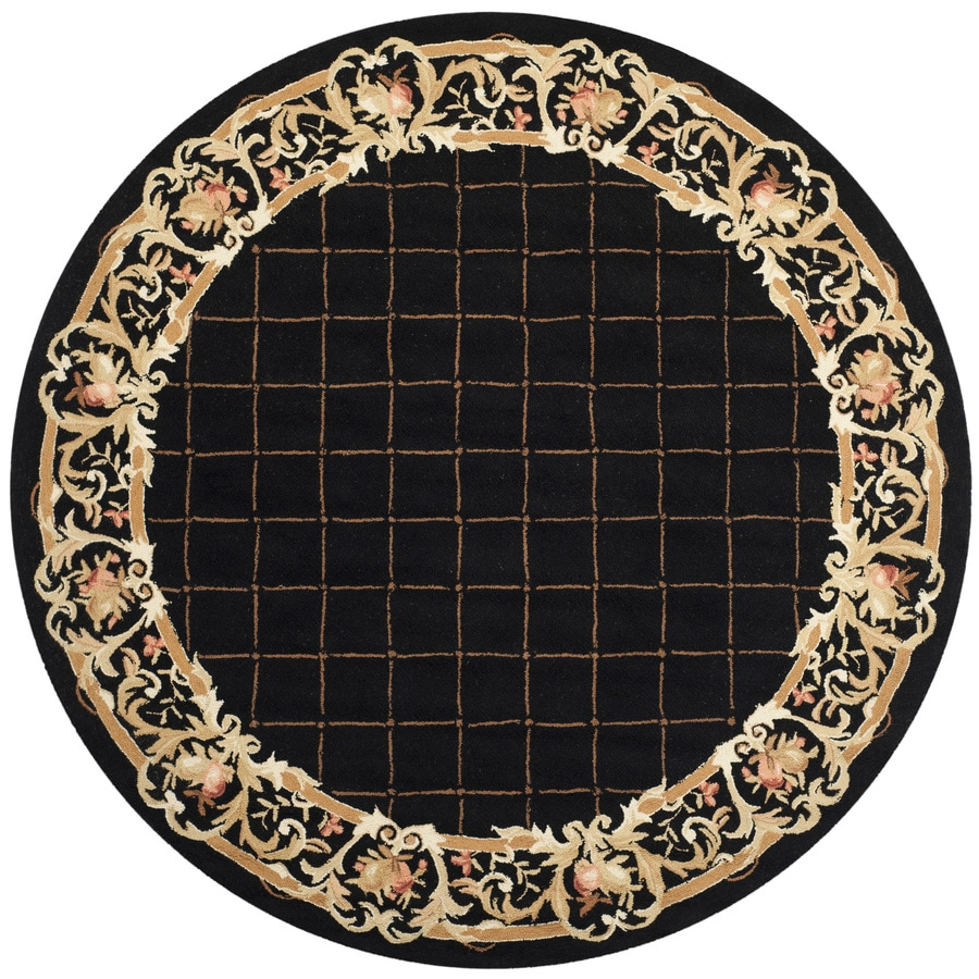 Safavieh Chelsea Anjou Black Round Indoor Handcrafted Lodge Area Rug (Common: 8 x 8; Actual: 8-ft W x 8-ft L x 8-ft dia)