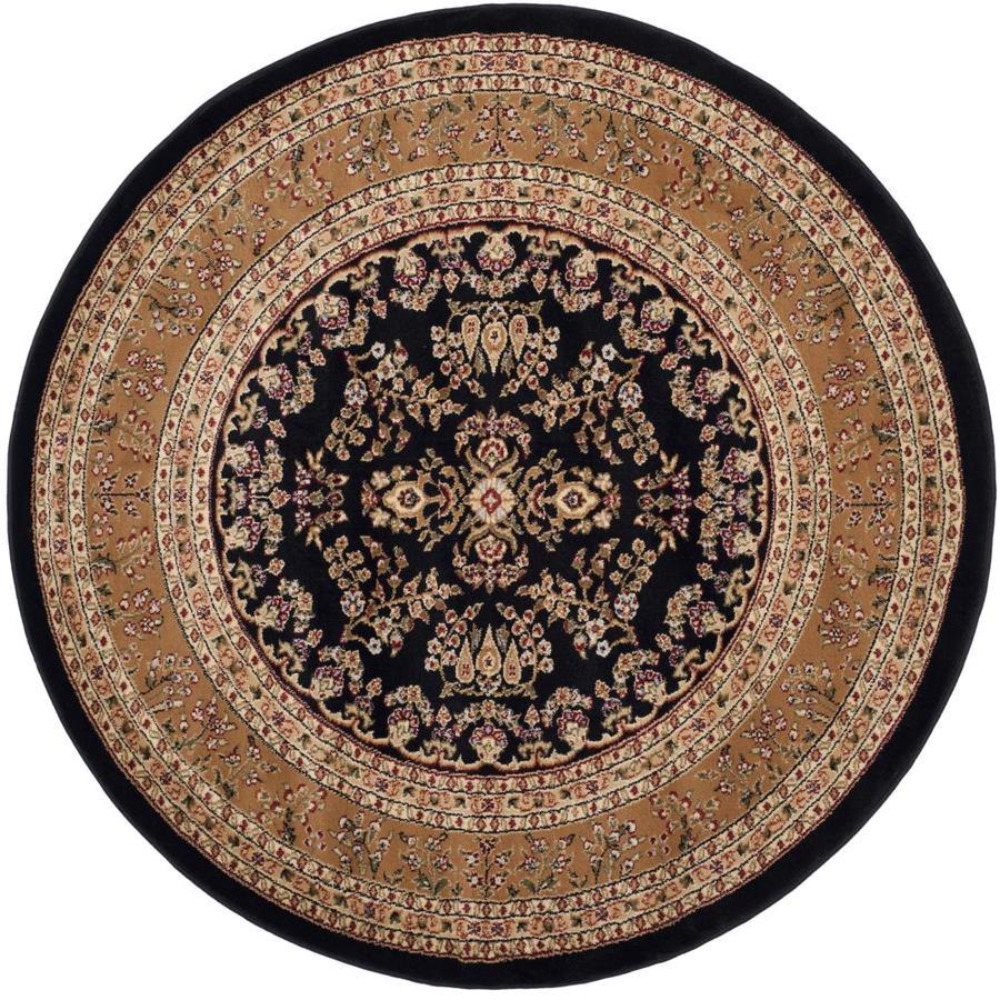 Safavieh Lyndhurst Hamadan Black/Tan Round Indoor Machine-made Oriental Area Rug (Common: 5 x 5; Actual: 5.25-ft W x 5.25-ft L x 5.25-ft dia)