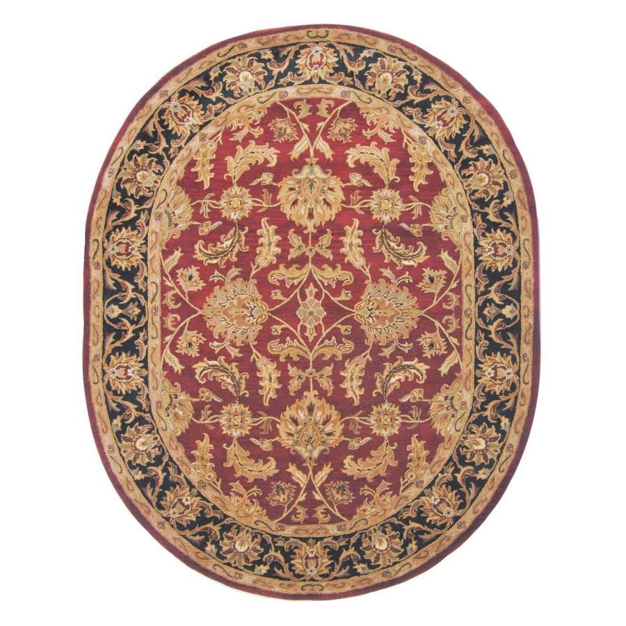 Safavieh Heritage Kashan Red/Black Oval Indoor Handcrafted Oriental Area Rug (Common: 6 x 9; Actual: 7.5-ft W x 9.5-ft L)