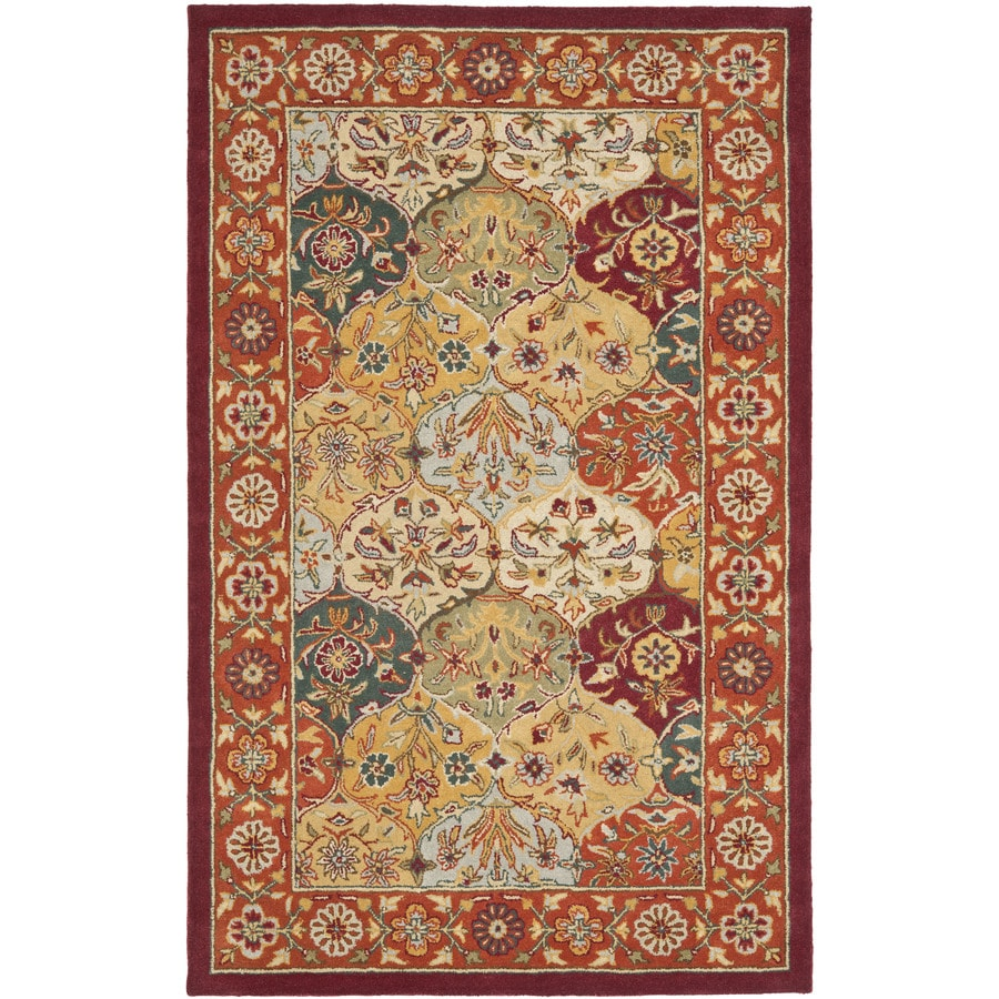 Safavieh Heritage Baktiari Multi/Red Rectangular Indoor Handcrafted Oriental Throw Rug (Common: 3 x 5; Actual: 3-ft W x 5-ft L)