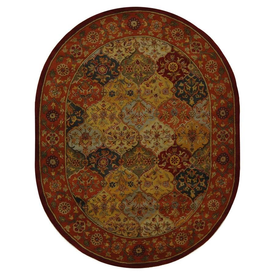 Safavieh Heritage Baktiari Multi/Red Oval Indoor Handcrafted Oriental Area Rug (Common: 4 x 6; Actual: 4.5-ft W x 6.5-ft L)