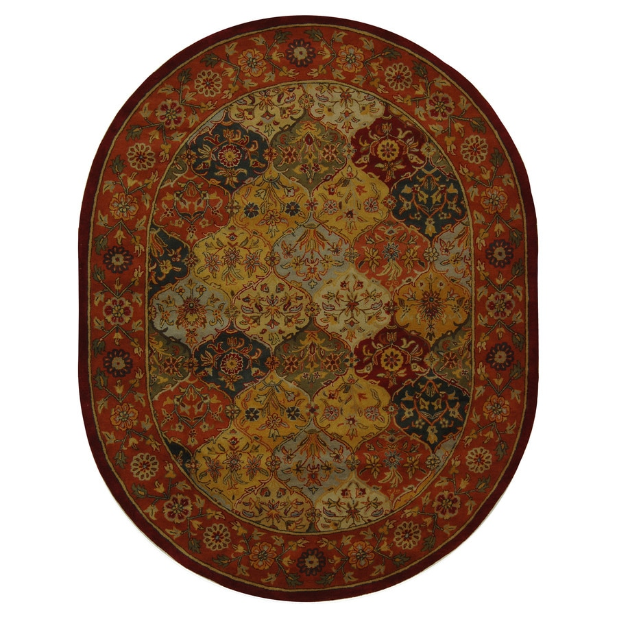 Safavieh Heritage Baktiari Multi/Red Oval Indoor Handcrafted Oriental Area Rug (Common: 7 X 9; Actual: 7.5-ft W x 9.5-ft L)