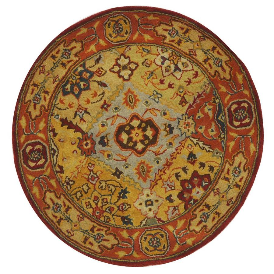 Safavieh Heritage Lavar Multi Round Indoor Handcrafted Oriental Throw Rug (Common: 3 x 3; Actual: 3.5-ft W x 3.5-ft L x 3.5-ft Dia)