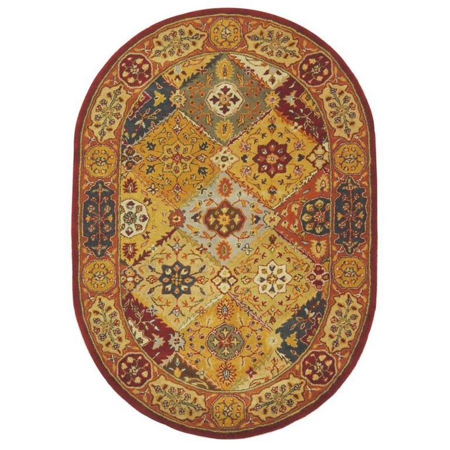 Safavieh Heritage Multi Oval Indoor Handcrafted Oriental Area Rug (Common: 4 x 6; Actual: 4.5-ft W x 6.5-ft L x 0-ft Dia)