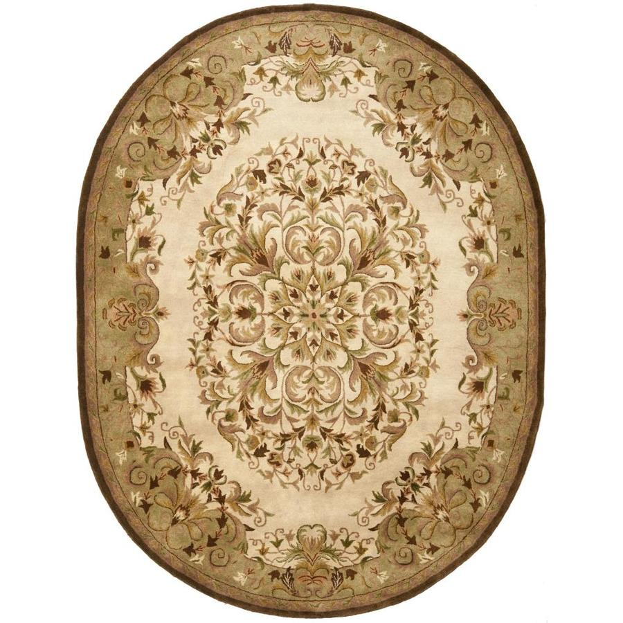 Safavieh Heritage Kirari 8 X 10 Beige Green Oval Indoor Floral Botanical Oriental Handcrafted Area Rug In The Rugs Department At Lowes Com
