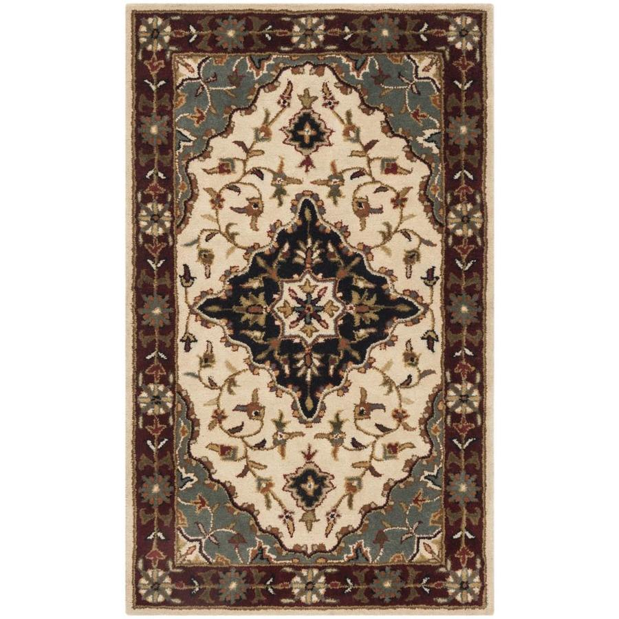 Safavieh Heritage Jhansi 3 X 5 Ivory Red Indoor Floral Botanical Oriental Handcrafted Throw Rug In The Rugs Department At Lowes Com