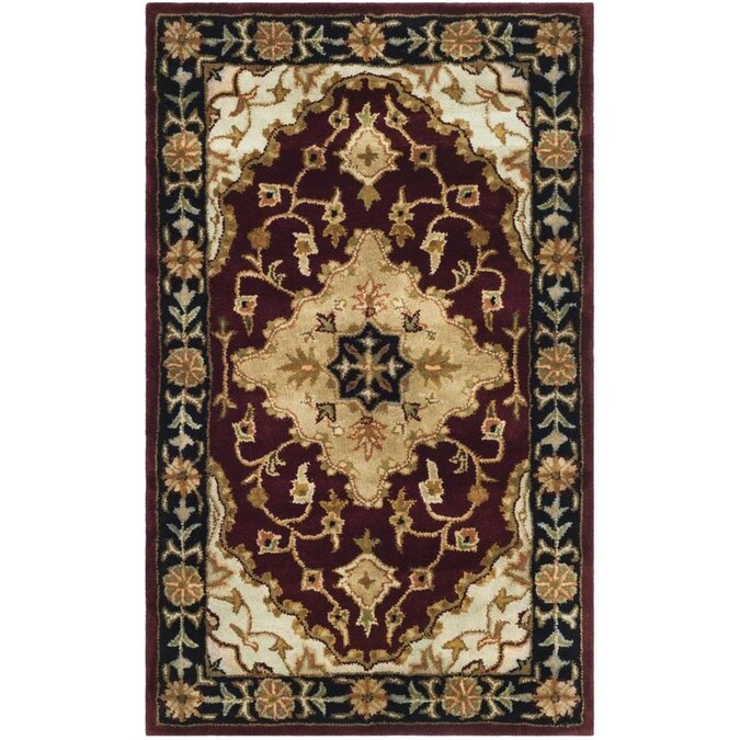 Safavieh Heritage Jhansi 3 X 5 Red Black Indoor Floral Botanical Oriental Handcrafted Throw Rug In The Rugs Department At Lowes Com