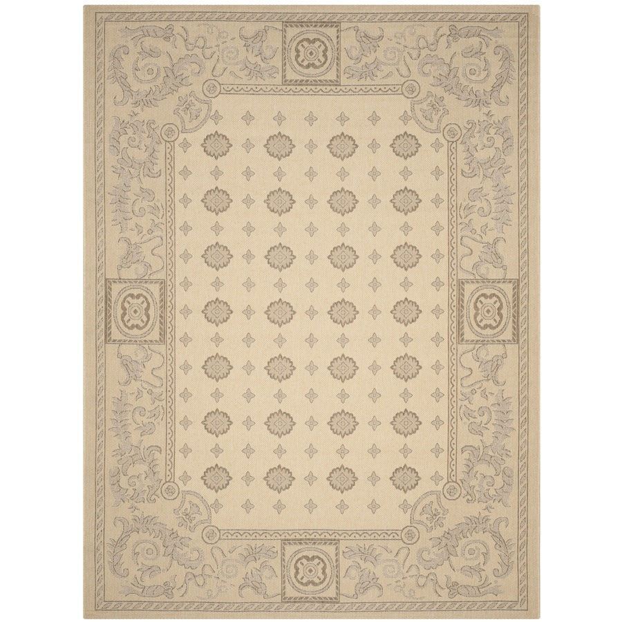 Safavieh Courtyard Natural/Brown Rectangular Indoor/Outdoor Machine-Made Coastal Area Rug (Common: 6 x 9; Actual: 6.58-ft W x 9.5-ft L x 0-ft Dia)
