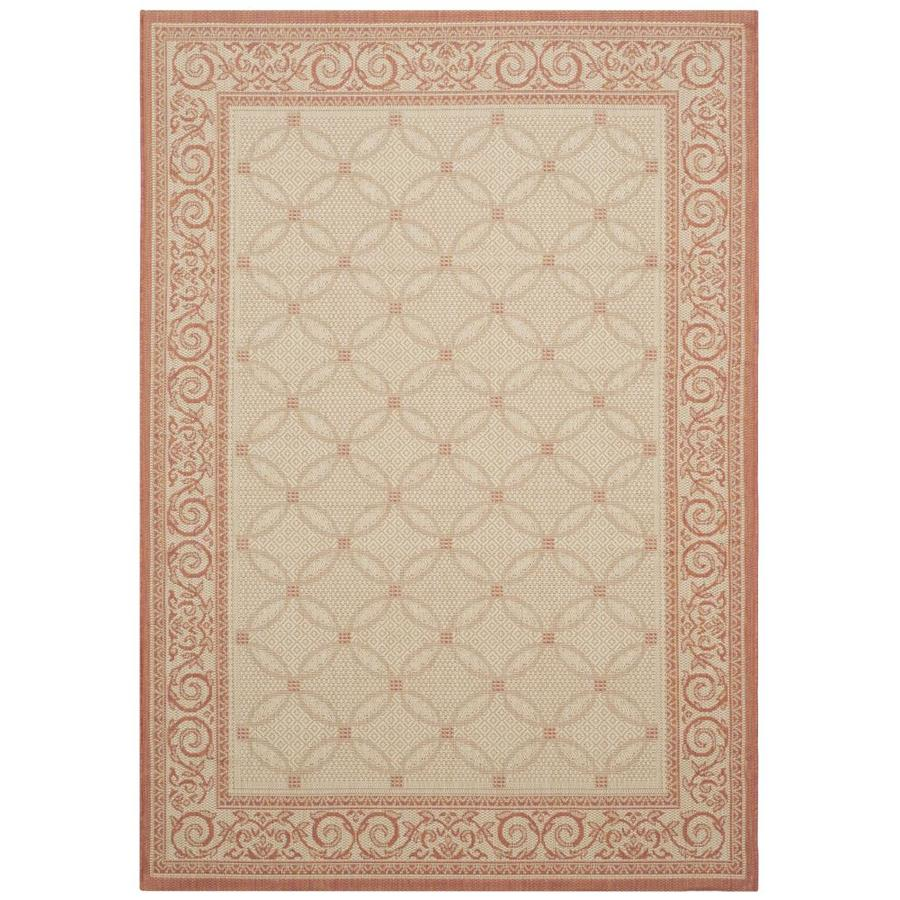 Safavieh Courtyard Natural and Terra Rectangular Indoor and Outdoor Machine-Made Area Rug (Common: 6 x 9; Actual: 79-in W x 114-in L x 0.42-ft Dia)
