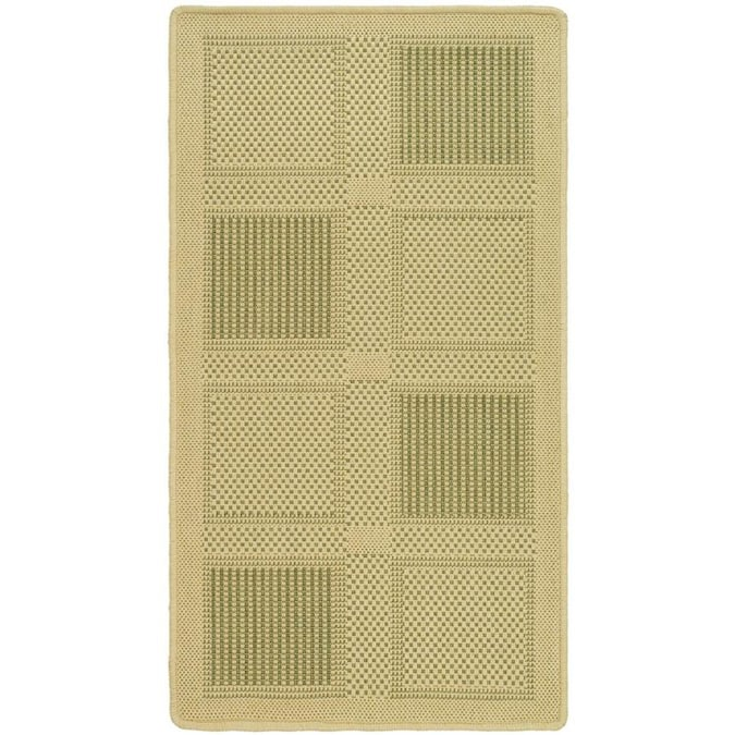 Safavieh Courtyard Checkmate 4 X 6 Natural Olive Indoor Outdoor Geometric Coastal Area Rug In The Rugs Department At Lowes Com