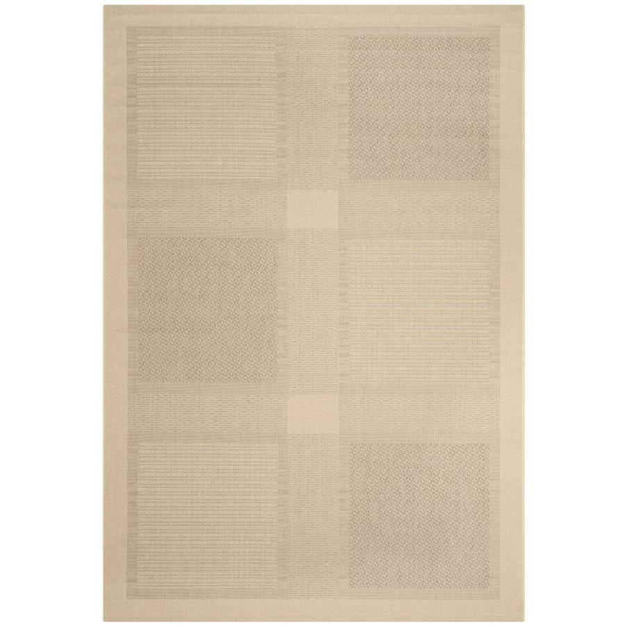 Safavieh Courtyard Checkmate Natural/Brown Rectangular Indoor/Outdoor Machine-Made Coastal Area Rug (Common: 4 x 5; Actual: 4-ft W x 5.58-ft L)