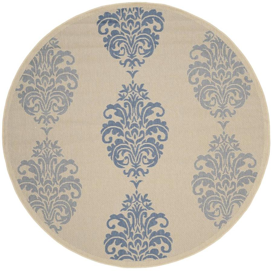 Safavieh Courtyard Natural/Blue Round Indoor/Outdoor Machine-Made Coastal Area Rug (Common: 6 x 6; Actual: 6.583-ft W x 6.583-ft L x 6.583-ft Dia)