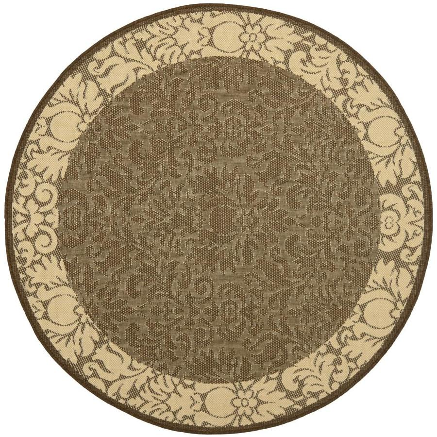 Safavieh Courtyard Nashua 5 X 5 Chocolate Natural Round Indoor Outdoor Damask Coastal Area Rug In The Rugs Department At Lowes Com
