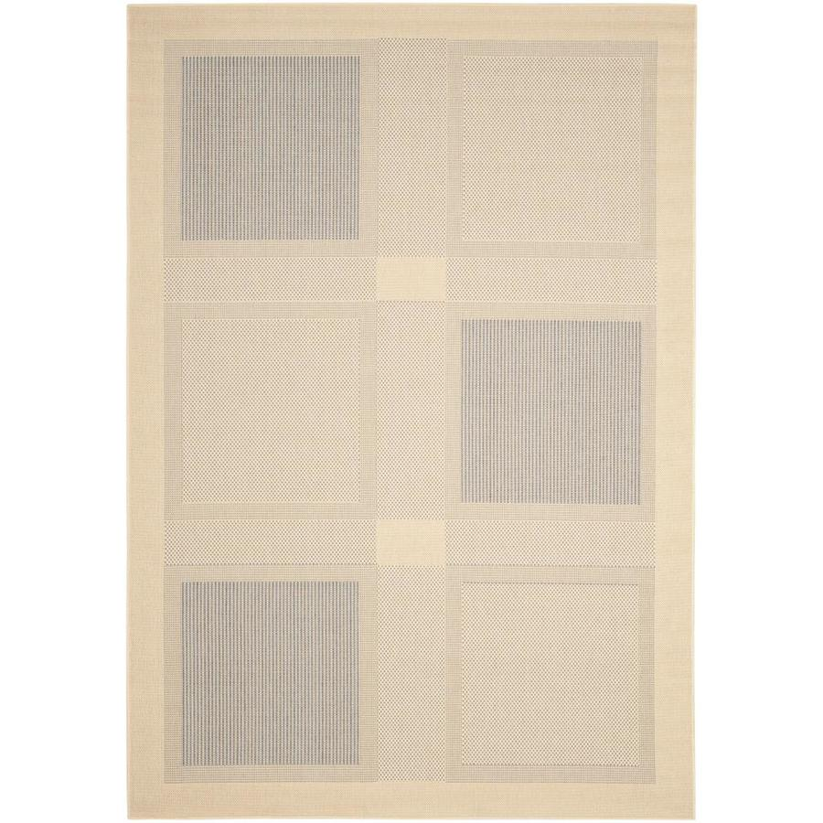 Safavieh Courtyard Checkmate Natural/Blue Rectangular Indoor/Outdoor Machine-Made Coastal Area Rug (Common: 4 x 5; Actual: 4-ft W x 5.58-ft L)