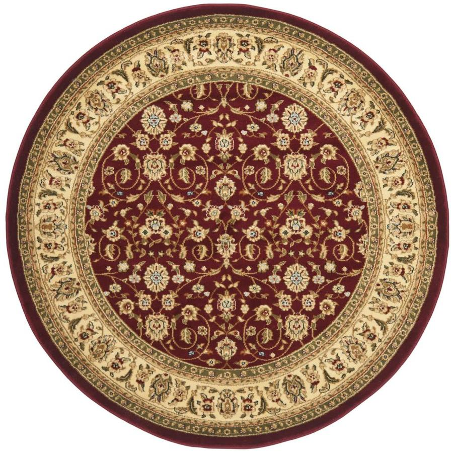 Safavieh Lyndhurst Qum Red/Ivory Round Indoor Machine-made Oriental Area Rug (Common: 5 x 5; Actual: 5.25-ft W x 5.25-ft L x 5.25-ft dia)