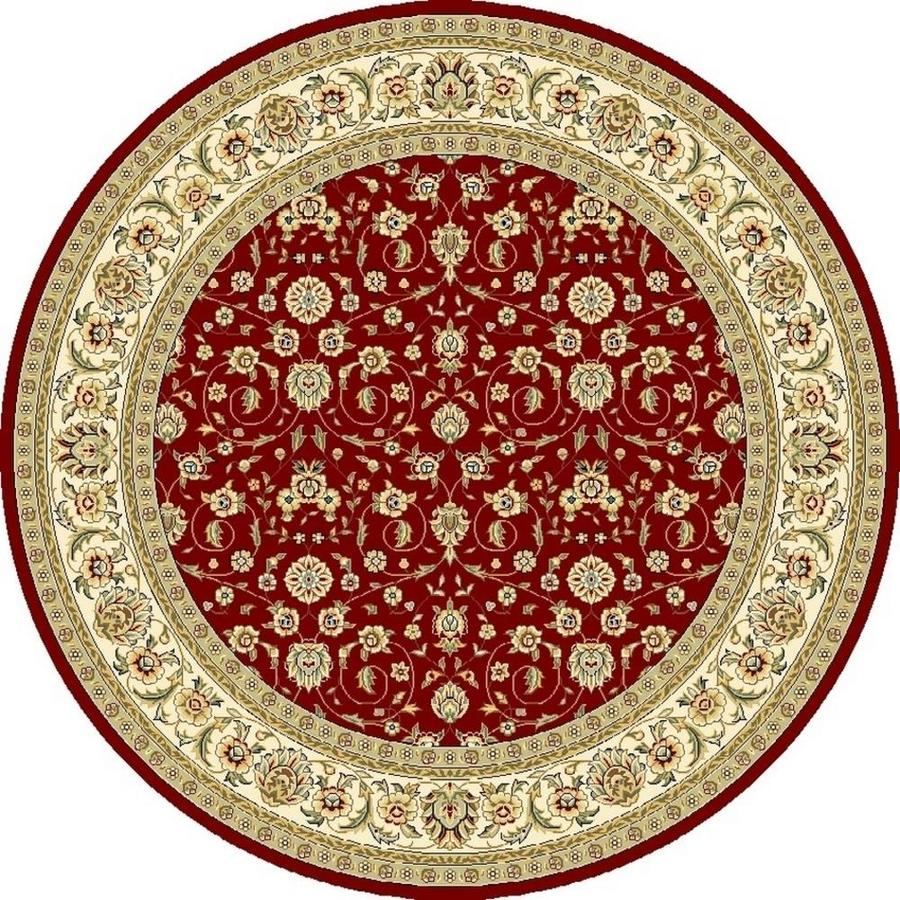 Safavieh Lyndhurst Qum Red/Ivory Round Indoor Oriental Area Rug (Common: 8 x 8; Actual: 8-ft W x 8-ft L x 8-ft dia)