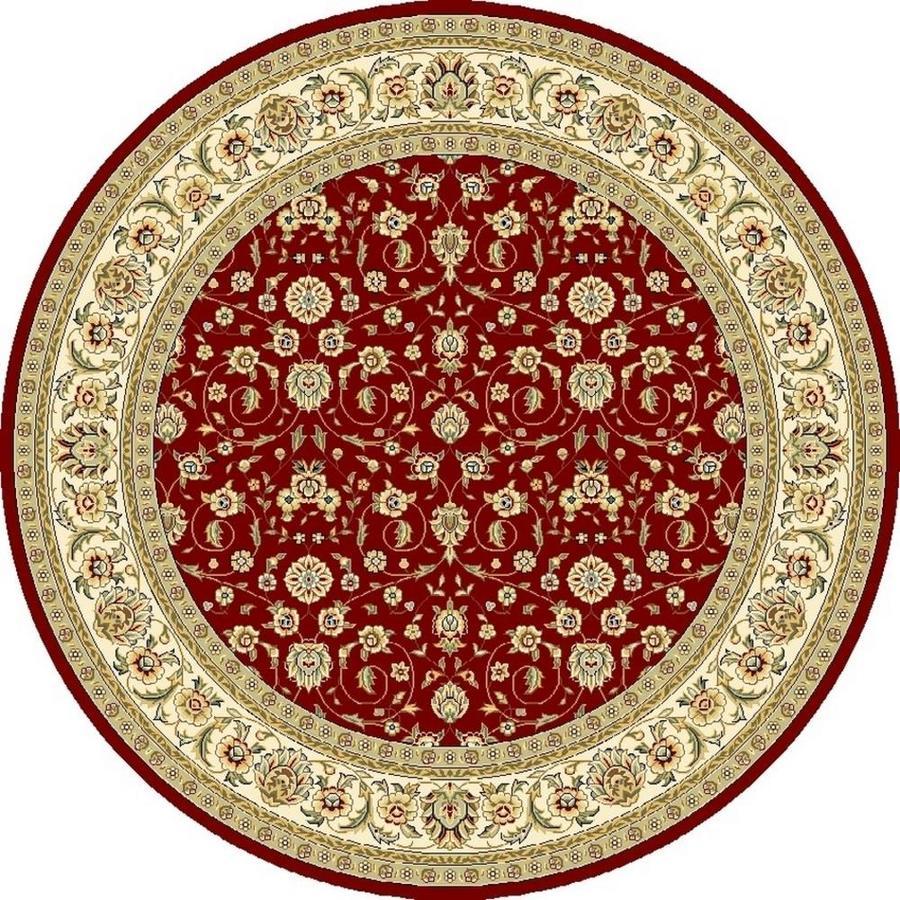 Safavieh Lyndhurst Qum Red/Ivory Round Indoor Machine-made Oriental Area Rug (Common: 8 x 8; Actual: 8-ft W x 8-ft L x 8-ft Dia)