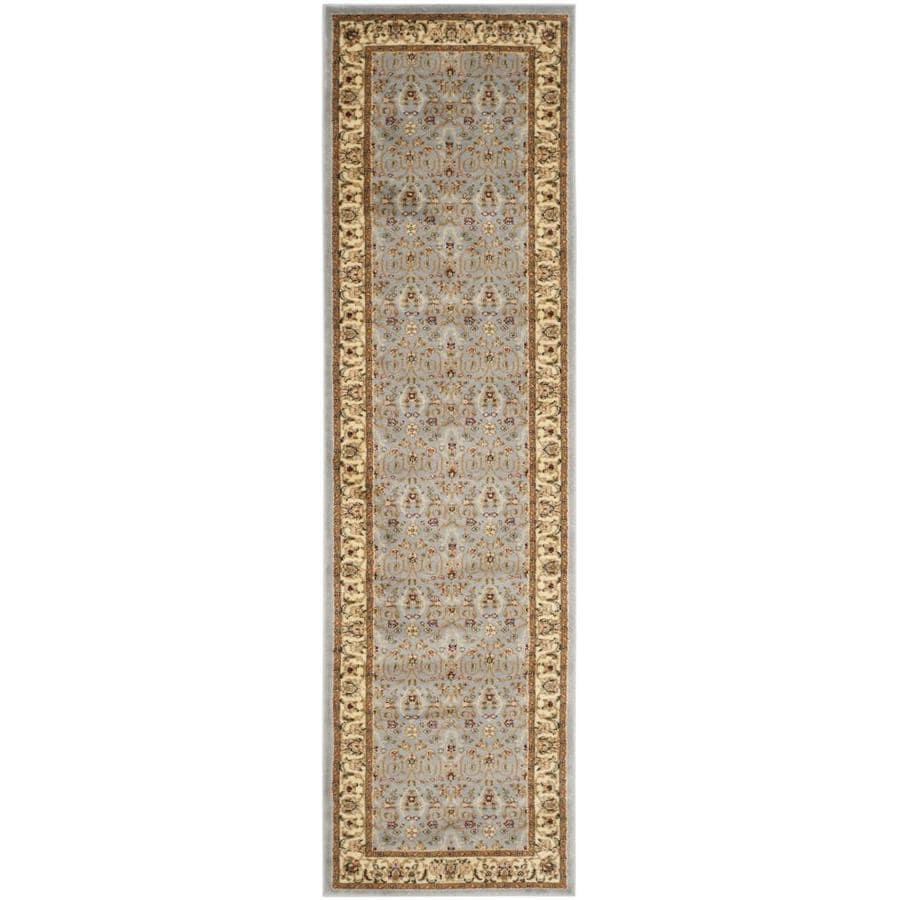Safavieh Lyndhurst Qum Light Blue/Ivory Indoor Oriental Runner (Common: 2 x 8; Actual: 2.25-ft W x 8-ft L)