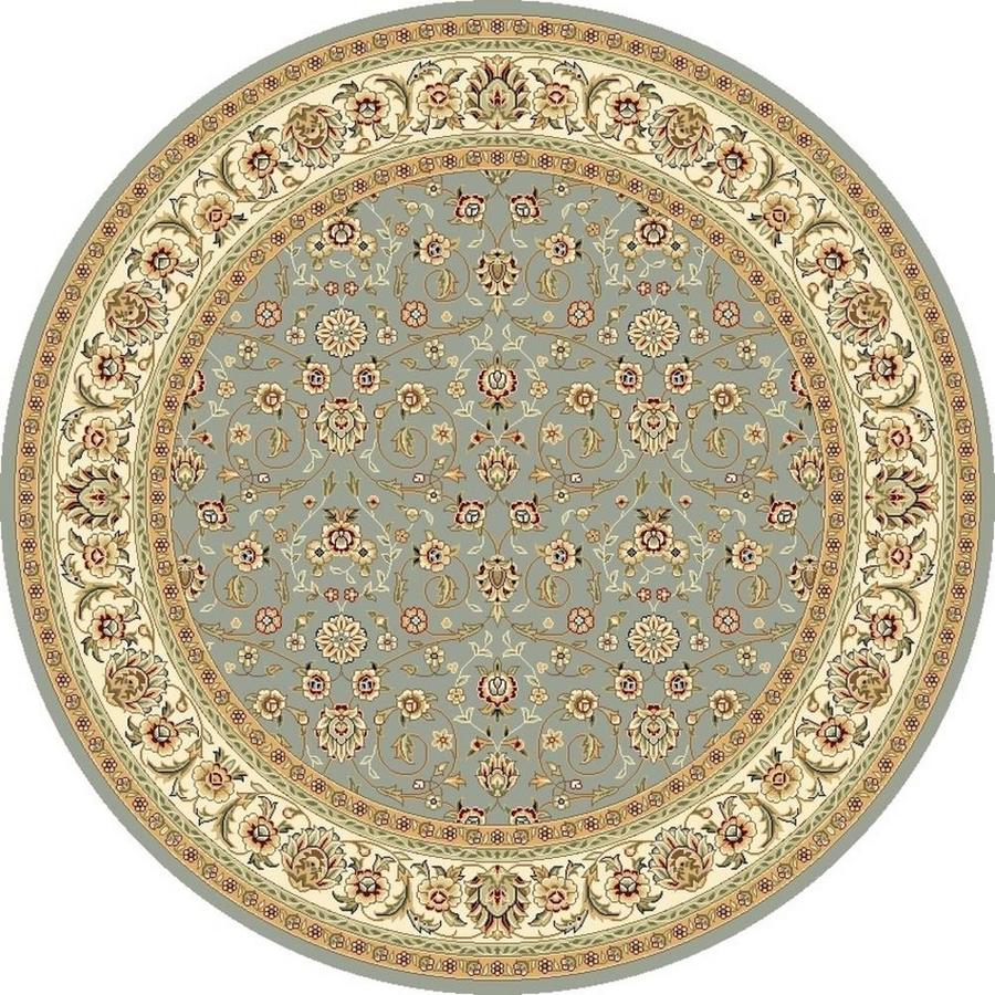 Safavieh Lyndhurst Qum Light Blue/Ivory Round Indoor Oriental Area Rug (Common: 8 x 8; Actual: 8-ft W x 8-ft L x 8-ft dia)