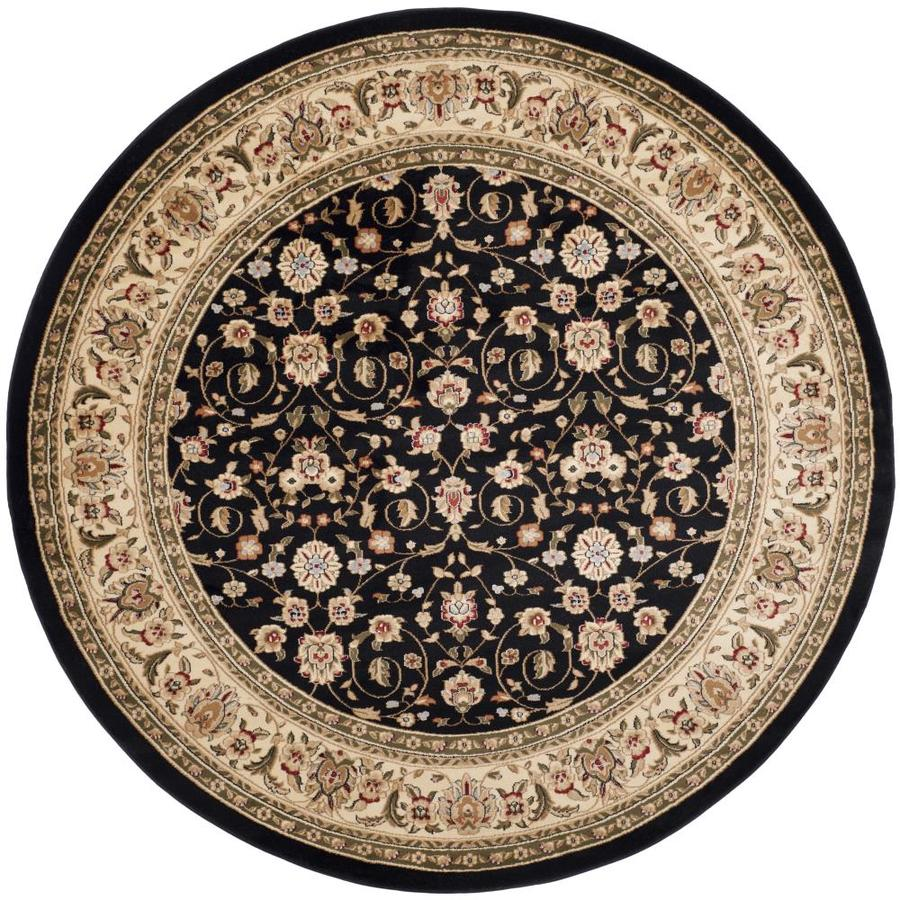 Safavieh Lyndhurst Antoinette Black/Ivory Round Indoor Machine-made Oriental Area Rug (Common: 8 x 8; Actual: 8-ft W x 8-ft L x 8-ft Dia)