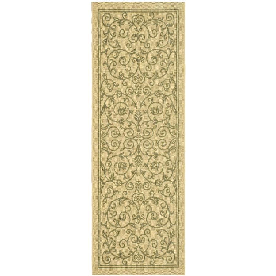 Safavieh Courtyard Natural and Olive Rectangular Indoor and Outdoor Machine-Made Runner (Common: 2 x 6; Actual: 28-in W x 79-in L x 0.33-ft Dia)
