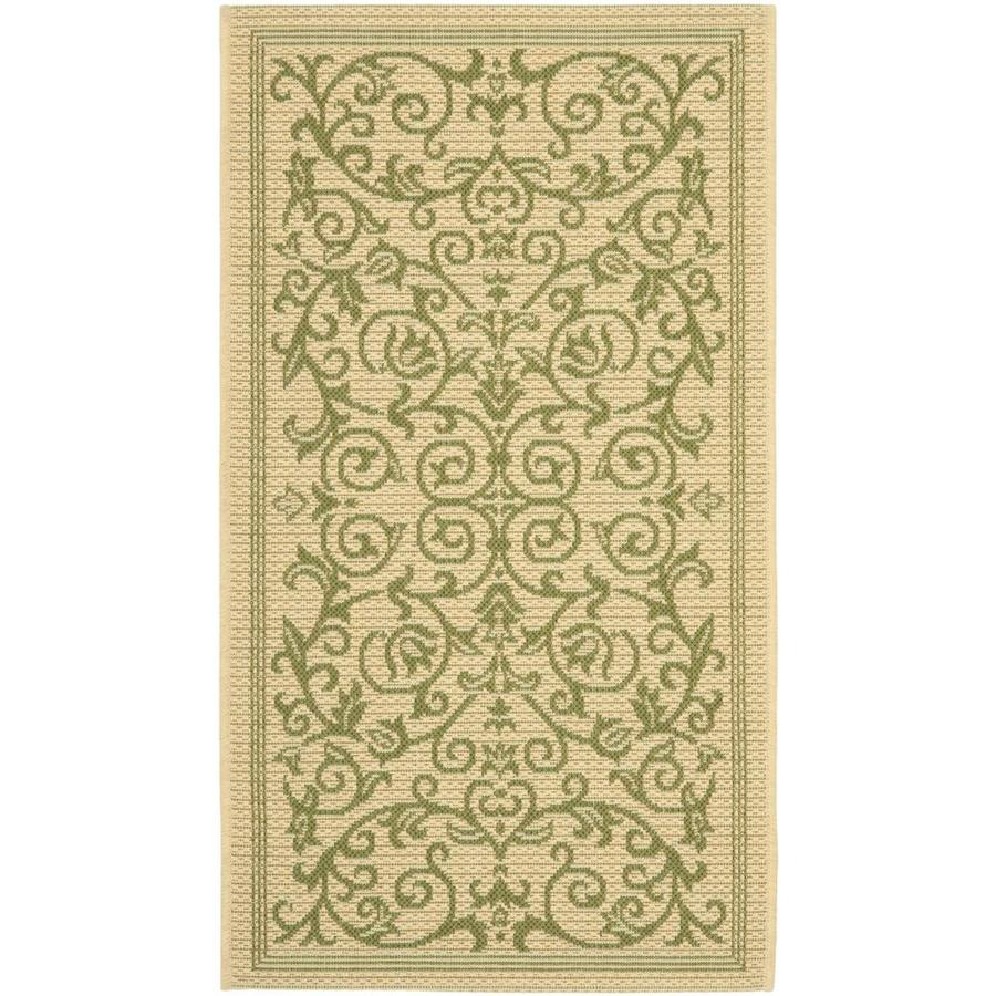 Safavieh Courtyard Heirloom Gate Natural/Olive Rectangular Indoor/Outdoor Machine-Made Coastal Throw Rug (Common: 2 x 5; Actual: 2.58-ft W x 5-ft L)